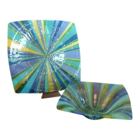 Higgins Fused Glass Tray & Bowl - A Pair For Sale