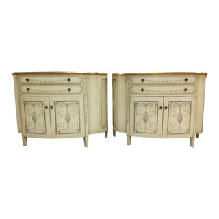 Painted Demilune Chests- a Pair For Sale
