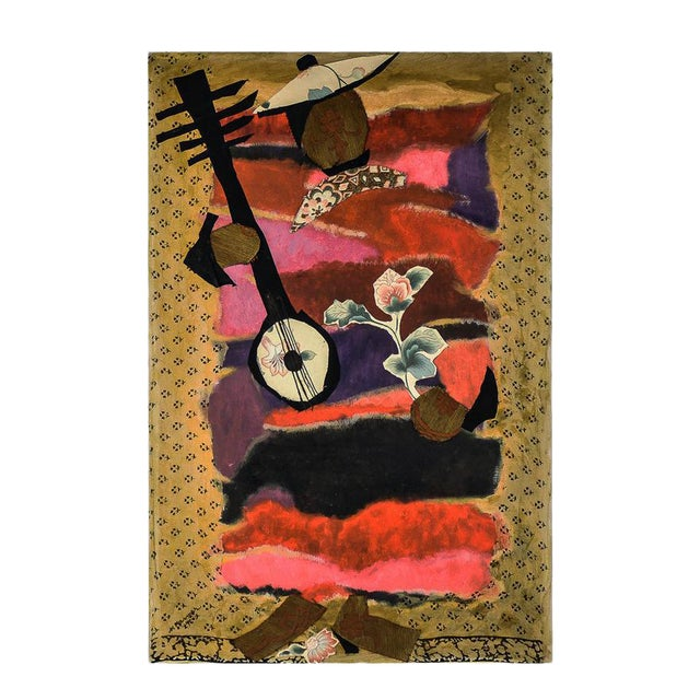 """Mymy Farmer """"Lute Player"""" Mixed Media Collage on Canvas For Sale"""