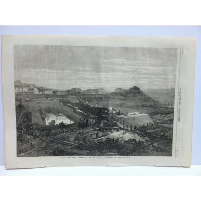 """This is an Antique The Illustrated London News Print that is titled """"Naval Docks being Constructed for the Italian..."""