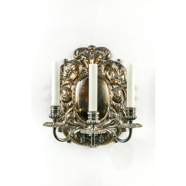 Spanish Silver Shield Triple Candelabra Sconces, Pair (3 Pairs Available) For Sale - Image 4 of 13