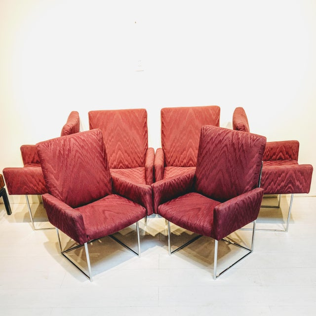 1970s Mid-Century Modern Burgundy Milo Baughman for Thayer Coggin Captain Dining Chairs - Set of 6 For Sale - Image 5 of 6