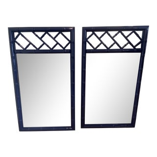 Vintage Palm Beach Chinoiserie Chippendale Style Faux Bamboo Lacquered Navy Blue Wall Mirrors - a Pair For Sale