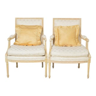 Late 20th Century Sherrill Louis XVI Style Upholstered Armchairs- A Pair For Sale