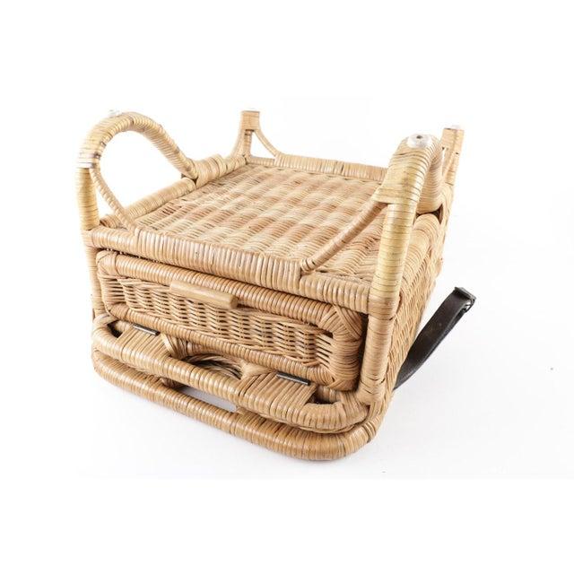 Animal Skin Vintage Wicker Picnic Basket Folding Chair For Sale - Image 7 of 13