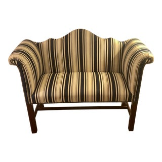1950s Traditional Striped Linen Upholstered Mahogany Settee