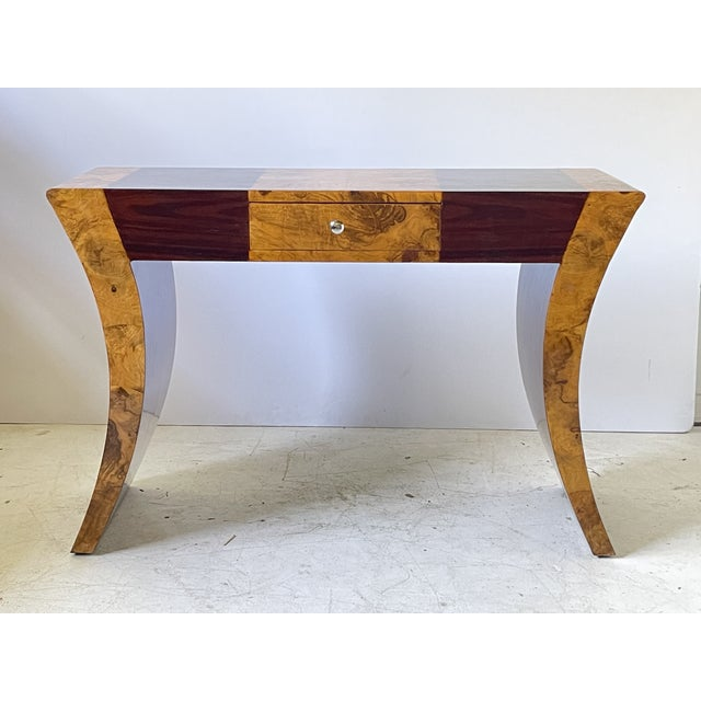 Vintage Italian Rosewood and Burlwood Console or Desk For Sale - Image 12 of 13
