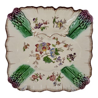 Longchamp Terre De Fer Hand-Painted Asparagus Plate For Sale