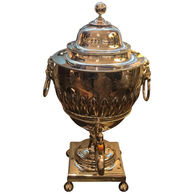 19th Century English Silver Plate Tea Urn For Sale
