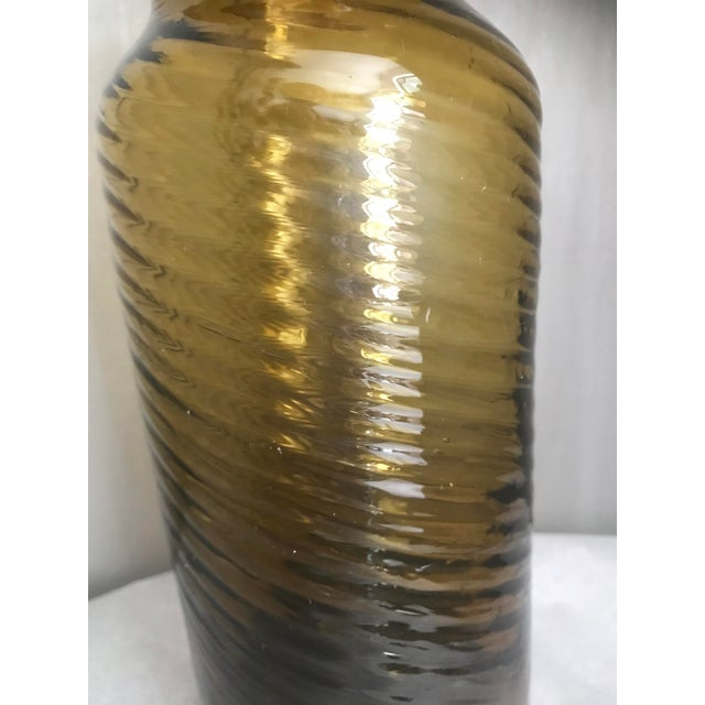 Vintage Amber Swirl Blown Glass Vase For Sale - Image 4 of 6