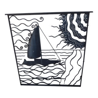 Large Wrought Iron 3D Sailboat Panel For Sale