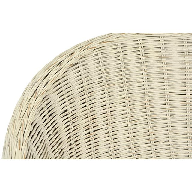 White Rattan Chair With Cushion For Sale - Image 4 of 5