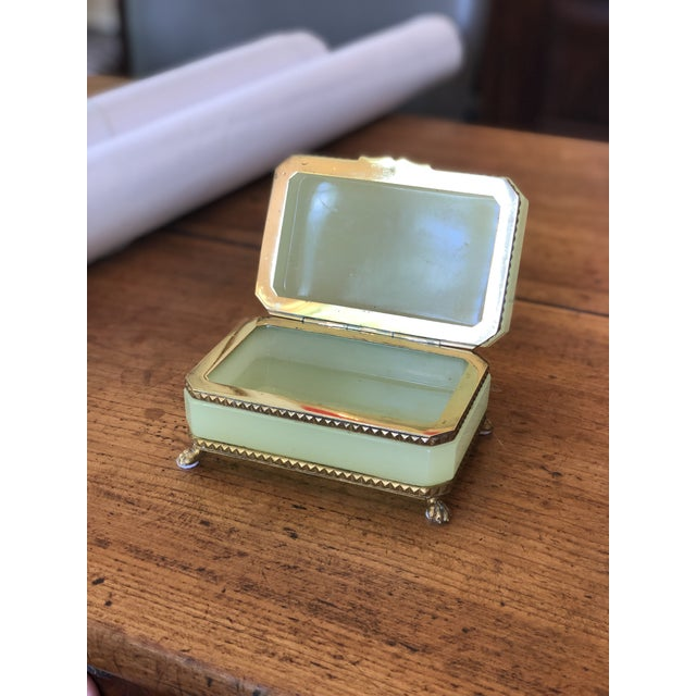 Yellow-Green Opaline Glass Box With Brass Trim and Feet For Sale - Image 4 of 9