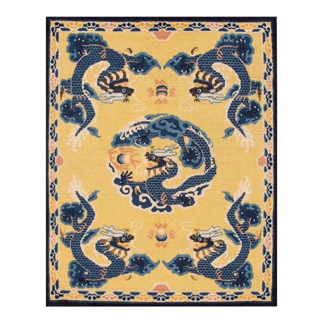 Vintage Yellow Dragon Peking Chinese Wool Rug 5 Ft 2 in X 6 Ft 7 In. For Sale