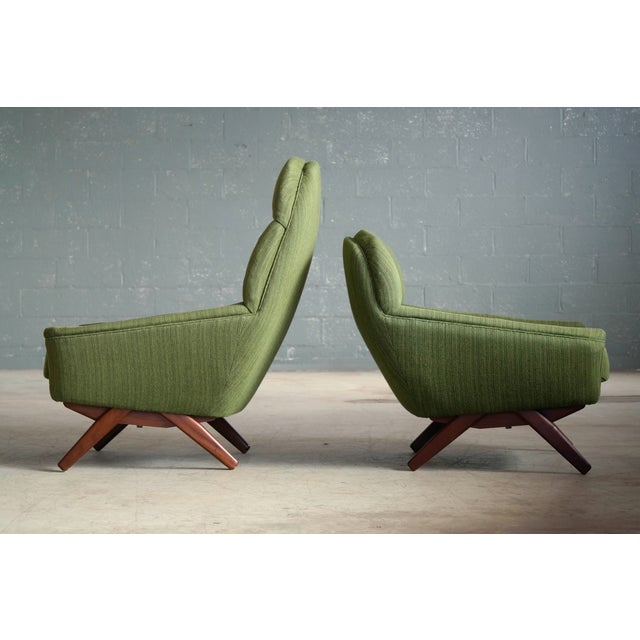 Danish Illum Wikkelso Style High and Low Lounge Chairs by Leif Hansen - a Pair For Sale - Image 9 of 13