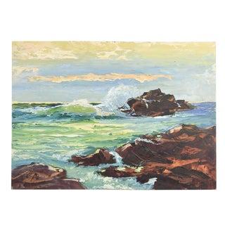 1960s Vintage Rocky Coastline Seascape Painting For Sale