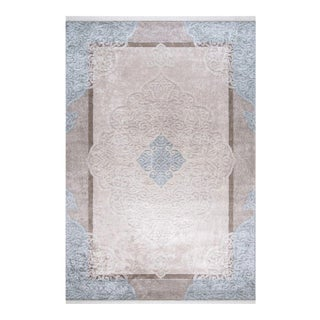 Traditional Oushak Pattern Inspired Area Rug - 5′1″ X 7′7″