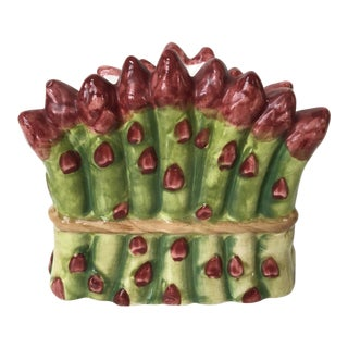 Majolica Ceramic Asparagus Napkin Holder For Sale