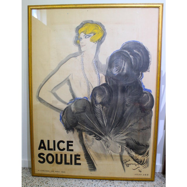 """Art Deco Antique 1926 Multimedia Poster by Jean Gabriel Domerge """"Alice Soulie"""" Watercolor Gouache Charcoal on Paper With Christie's Coa For Sale - Image 3 of 13"""