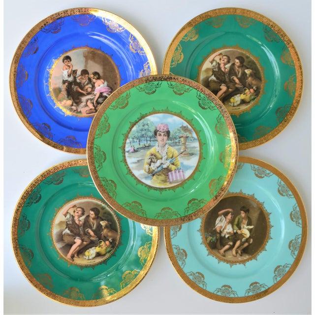 Antique Josef Kuba Jkw Bavaria Porcelain Plates - Set of 5 For Sale - Image 9 of 11
