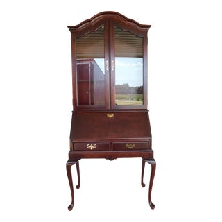 Jasper Cabinet Queen Anne Cherry Slant Front Secretary Desk Lighted Curio Top For Sale