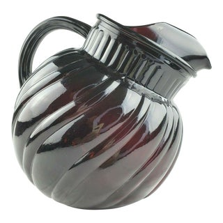 Mid-Century Anchor Hocking Royal Ruby Swirl Tilted Ball Pitcher For Sale