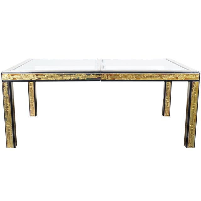 Vintage Etched Brass Dining Table by Mastercraft For Sale