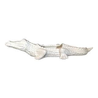 1970s Italian White Pottery Alligator Planter For Sale
