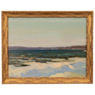 Oil Seascape Painting in Giltwood Frame For Sale