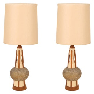 Pair of Walnut and Ceramic Table Lamps For Sale