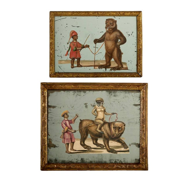 19th C. French Exotic Hand-Painted Decoupage Mirror, Animal Trainer, Monkey & Bear For Sale - Image 12 of 13