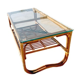 1960s Boho Chic Bamboo Rattan Bentwood Smoked Glass Top Coffee Table For Sale
