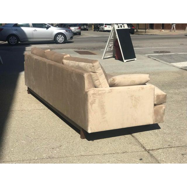 Mid Century Khaki Velvet Sofa For Sale - Image 4 of 11
