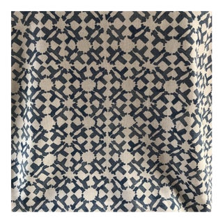 Hand Printed Indigo Linen Fabric - 4 Yards