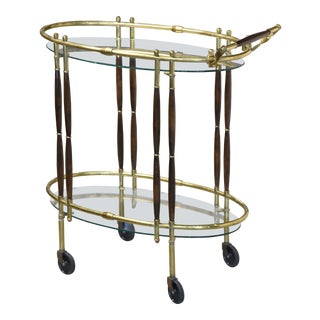 1960s Mid Century Modern Brass & Walnut Bar Cart