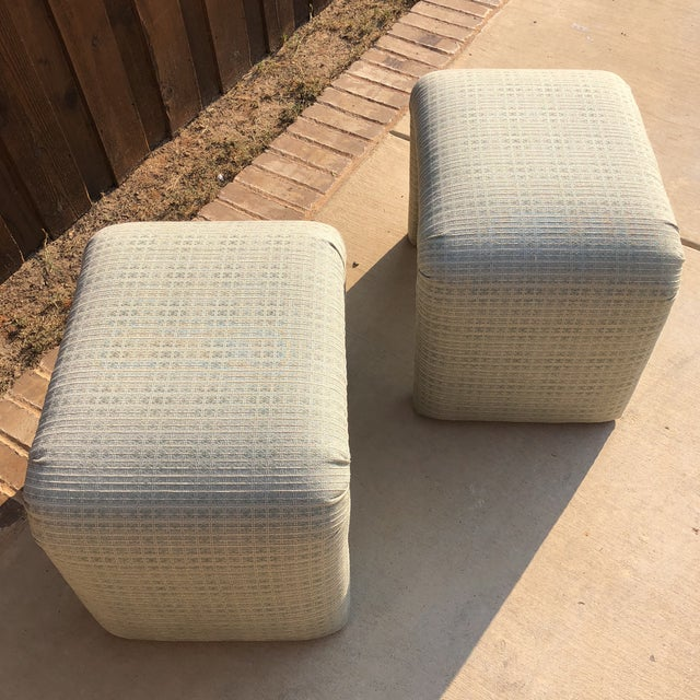 1980s Vintage Pale Green Waterfall Stools - a Pair For Sale - Image 5 of 7