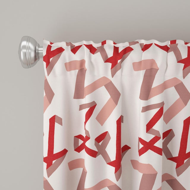 """Angela Chrusciaki Blehm 96"""" Blackout Curtain in Pink & Red Ribbon by Angela Chrusciaki Blehm for Chairish For Sale - Image 4 of 7"""