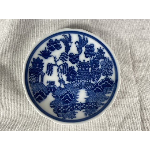 1960s Miniature Blue Willow Pattern Scalloped Edge Saucer, Japan For Sale - Image 4 of 4