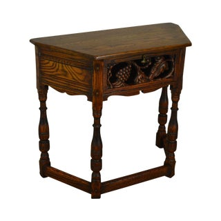 Jameston Lounge Feudal Oak Grapeuine Carved Jacobean Style Console Table For Sale