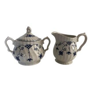 Vintage Blue & White English Ironstone China Cream , Sugar Set For Sale