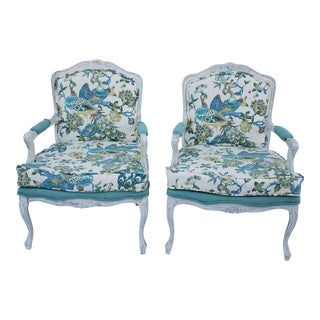1990s Vintage Classic Bergere Chairs- A Pair For Sale