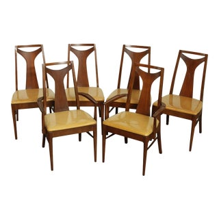 Kent Coffey Perspecta Mid-Century Modern Set 6 Walnut Dining Chairs For Sale