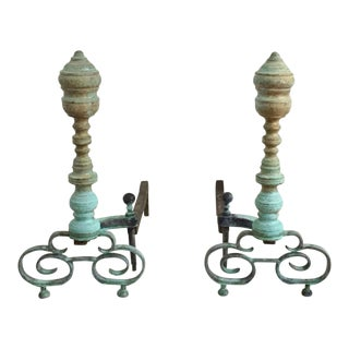 Vintage Oxidized Green Patina Verdigris Brass Fireplace Tools - a Pair For Sale