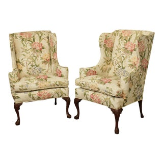 Hickory Chair Mahogany Queen Anne Style Wing Chairs - a Pair For Sale