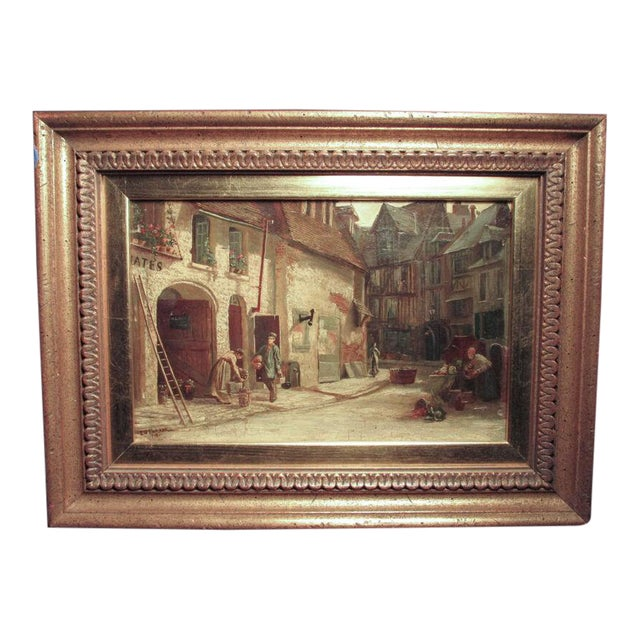Late 19th Century Antique Ellen Grace Parker British Genre Scene Oil Painting For Sale