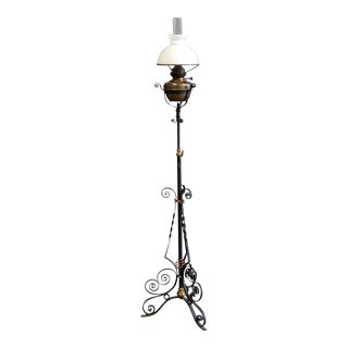 Antique Victorian Brass and Iron Floor Oil Lamp For Sale