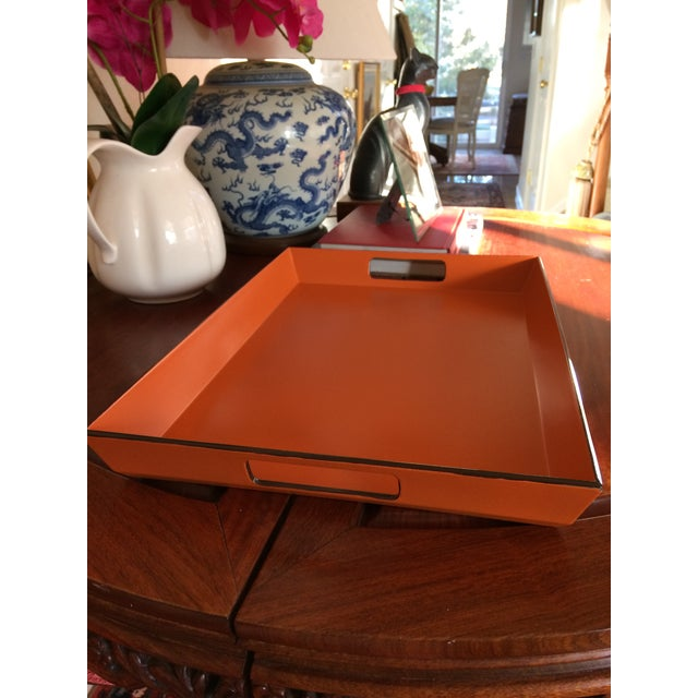 Mid Century Modern Orange and Espresso Bar Tray For Sale - Image 12 of 13