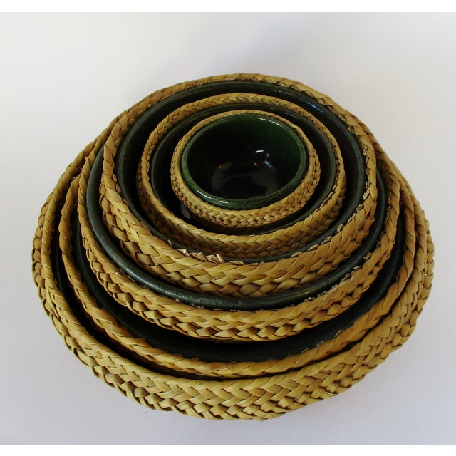 Rustic Ceramic & Wicker Nesting Bowls, Set of 6 For Sale - Image 3 of 9