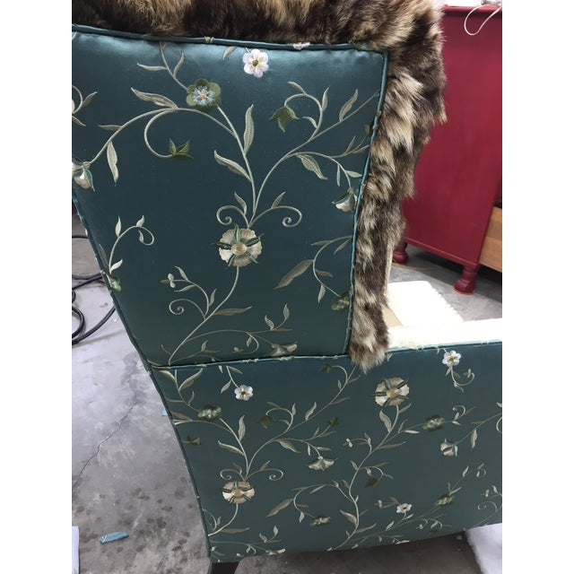 Turquoise Silk & Fur Teal & Champagne Wingback Chair For Sale - Image 8 of 9