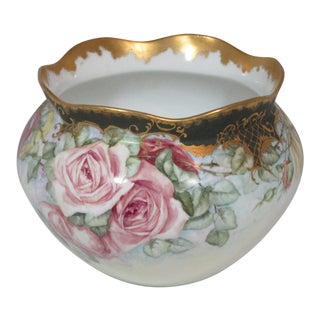 Vintage Hand Painted French Cachepot For Sale